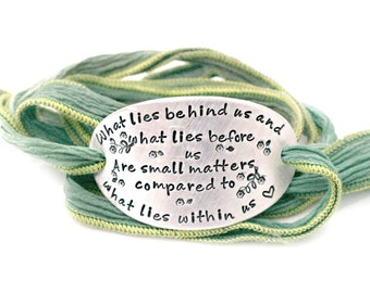 Mantra Bracelet - Yoga Bracelet - Wrap Bracelet - Ribbon Bracelet - Inspirational Quote Bracelet - Silk Wrap Bracelet - Positive Jewelry