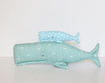 Plush whale stuffed whales big and small sea creatures child friendly toy teal turquoise fish nautical sea ocean baby shower gift