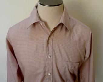 Vintage 80s Sears Pink Plaid Shirt - M