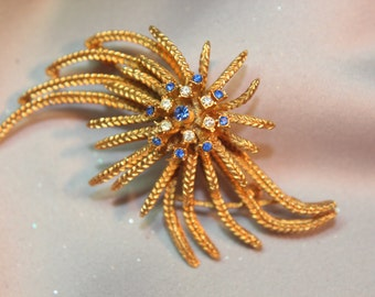 Vintage Bridal Crystal Rhinestone & Sapphire Brooch/Haircomb, Golden Wedding Starburst Brooch, Wedding Accessory