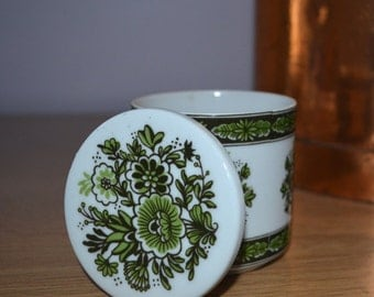 Porcelain Covered Candle Jar with Green Floral Design