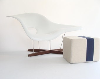Natural Pouf/Floor Pouf/Ottoman/Stripe Pouf/Navy Blue Stripe/Urban/Modern/Floor Pouf/Foot Stool/Nursery Pouf/ Zigzag Studio Design