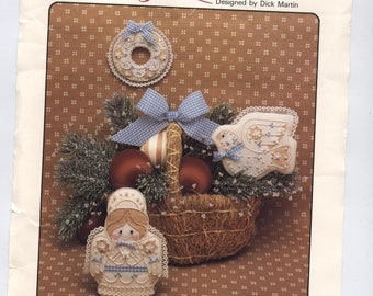 Country Angel, Dove, and Wreath Embroidery Ornaments - PARTIAL Kit