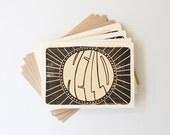 Retro 'Hello' cards, block printed cards, 3.5x5, 4bar