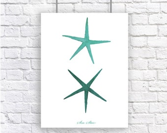 Starfish Sea Star Mint Green Large Nautical Art Print Natural History Beach House Decor Aqua