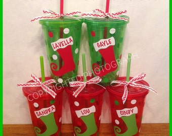 5 Personalized Acrylic CHRISTMAS TUMBLERS with STOCKING Red Green Clear with Name or Initial