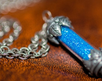 Blue Dream Glitter Capsule Pendant Necklace