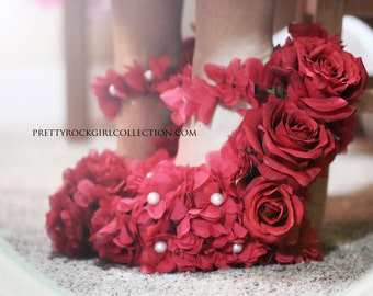 Red Flower Shoes, Hand Made with Roses, wedge heels, curved moon heel, wedding shoes, flower shoes, wedge shoes, Rose shoes, red shoes