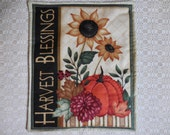 Primitive Wall Hanging Quilt Candle Mat Harvest Blessings Sunflower Pumpkin