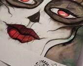 Halloween Sugar Skull Watercolor Painting