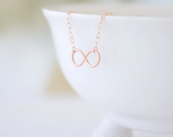 Tiny Infinity Necklace, Handmade Infinity Charm Necklace, Endless Love Necklace, Anniversary Necklace, 14k Rose Gold Filled, Olive Yew -1223