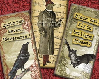 Victorian, Steampunk, Goth, Halloween - Ravens & Bats - Poe, Vampire - 1x2 inch Domino Tile Images - Digital Collage Sheet - Printables