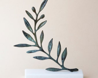 Olive Branch Bronze Sculpture, Metal Art, Greek Museum Quality Art, Olive Tree, Goddess Athena Symbol, Ancient Greece,Most Popular Item