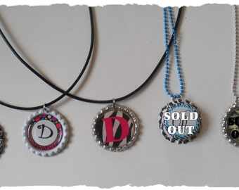 CLEARANCE Your Choice Of Initial D Bottlecap Necklace Pick your Style