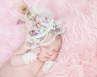 Pastel Pink, Blue, Lavender, Tan & Ivory Fascinator Hat Photo Prop w/ Fabric Flowers, Lace Veil, Strand of Pearls, Peacock, Ostrich Feathers