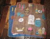 Kitchen themed lady's hankies, 13 inches sq.