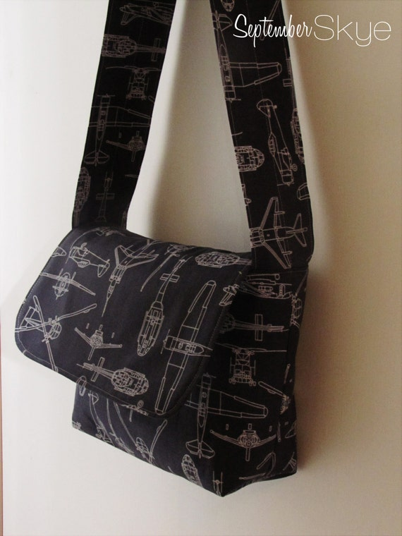 Little Boy Messenger Bag in Charcoal and Gray FlyBoy Airplane Print