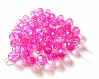 Hot Pink Faceted Rondelle Dangle Beads
