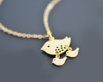 30% OFF, Mommy Bird Gold Necklace, Mother's day gift, Grandmother, Family Necklace,Mommy and me,Bird necklace,Gold necklace,Dainty necklace