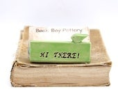 Hi There Bird Ceramic Business Card Holder - Hello Apple Green - Custom Personalized Office Gift - Ready to Ship