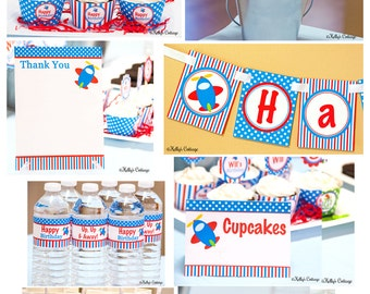 Airplane Birthday Party Ready To Go Package, Instant Download, Printable DIY Package