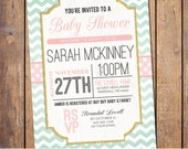 Chevron Baby Shower Invitation modern Baby Shower Invitation gender neutral pink and mint baby shower Invites (item349)