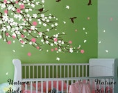 cherry blossom Floral with Flying Birds -cherry blossom wall decal faloer wall decal baby nursery wall decal gift wall decal children decal