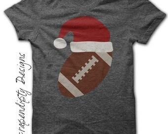 Iron on Football Shirt PDF - Santa Hat Iron on Transfer / Christmas Outfit / Kids Boys Clothing Tshirt / Toddler Christmas Football IT283
