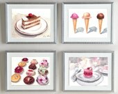 ANY 4 Giclee Prints of Watercolor 5 x 7 - Old Hollywood, Perfume, Desserts, Florals, Sailing, Seashells, Chanel - you choose