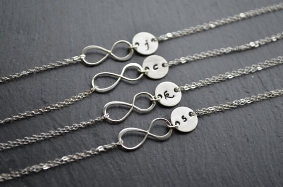 Silver Infinity Bracelets | Set of 4 | Monogram Initial Bracelet | Sterling Silver Infinity Initial | Bridesmaids Gifts | Bridal Party