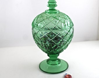 Vintage Green Glass Covered Bonbonniere