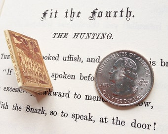 SALE - Miniature Vintage Book / The Hunting of the Snark by Lewis Carroll / Tiny Book w/ real pages / 1:6 scale mini book / playscale barbie