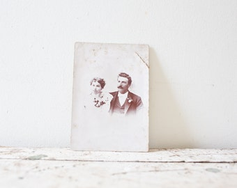 Vintage Wedding Photo - Married Couple Photo Family Portrait Vintage Photography Old Photo Black and White Haunted