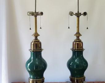 Pair Of James Mont Era Stiffel Emerald Green Midcentury
