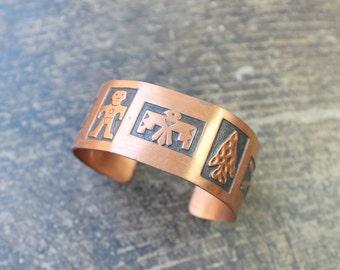 Copper BRACELET / Southwest Eagle and Arrow Cuff / Vintage Jewelry