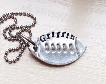 Personalized Football Mom Necklace Silver Name Jersey Number Sports Custom Little Sister Jewelry