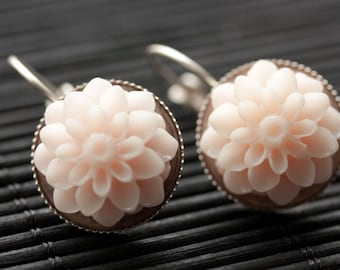 Pale Pink Dahlia Flower Earrings. French Hook Earrings. Pale Pink Flower Earrings. Lever Back Earrings. Handmade Jewelry.