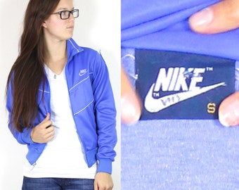 Vintage Retro Nike Blue Zip-Up Jacket From the 1970's Small