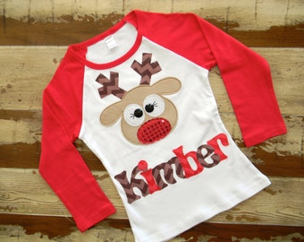 Christmas Long Sleeved Personalized Reindeer Shirt, Size 6-12m to 12yrs