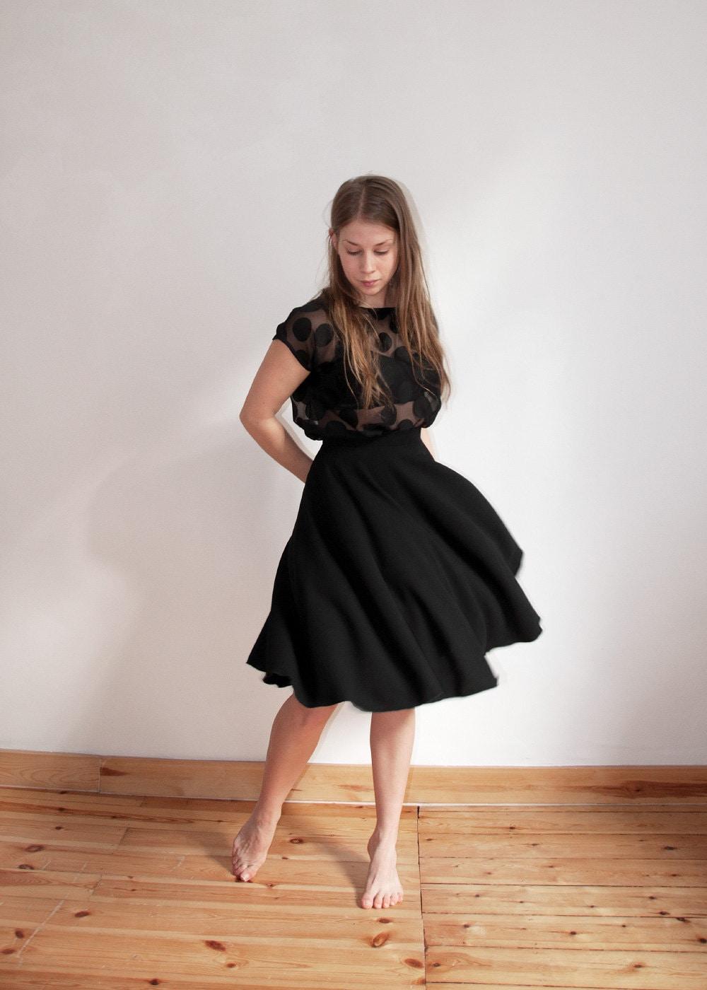 black circle skirt knee length black wool skirt