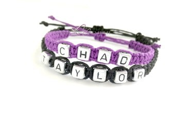 Name Bracelets, Couples Bracelets, Personalized Jewelry, Adjustable Hemp Bracelets, Anniversary Gift, Purple and Black, Couples Gift,