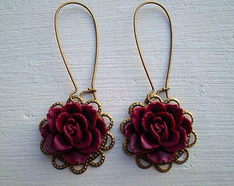 Romantic Rose Earrings/Maroon Earrings/Burgundy Earrings/Rustic wedding Earrings/Bridesmaid Earrings/Flower Earrings/Gifts For Her