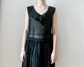 "Vintage 60s ""Sheer Chifon"" black dress with ruffle and pleat detailing size  S M"