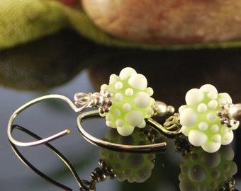 Snowy margarita lampwork earrings, silver earrings, SRAJD