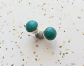 Large 8mm Silver Turquoise Earring, Sterling Silver Stud Earring