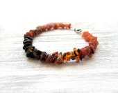 Ombre Amber bracelet, simple beaded bracelet, raw Baltic Amber, earth tones, natural organic bracelet for her, boho jewelry