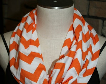 "Chevron Infinity Scarf Tennessee Orange on White zig zag Circle Loop Scarf 9.5"" x 64"" L - Quantity Discount Available"