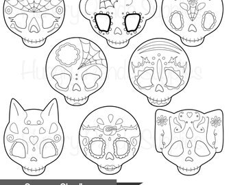 Sugar Skull digital stamp, day of the dead digital stamps, skull stamp, day of the dead, dia de los muertos, Día de Muertos stamp