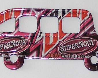 School Bus Magnet - Strawberry Mountain Dew Supernova Soda Can
