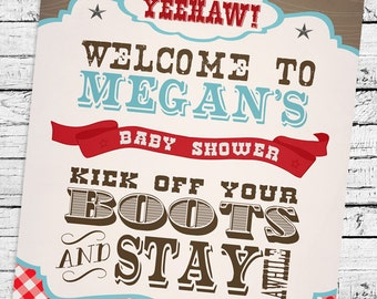 Cowboy Baby Shower Theme Welcome Sign